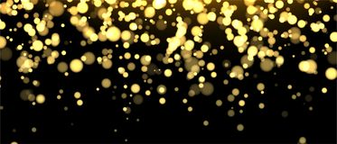 Gold blurred banner on black background. Glittering falling confetti backdrop. Golden shimmer texture for luxury design. Dust abstract on dark. Vector vector illustration