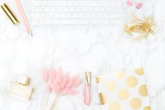 Gold and blush office  feminine. stock photo. Copy space. Gold and blush office  feminine. stock photo Royalty Free Stock Photography