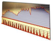 Gold board of stock chart Stock Image