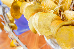 Gold Bodhi or Peepal Leaves ,sacred object for Hindus and Buddhi Royalty Free Stock Photos
