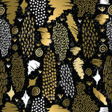 Gold boho seamless pattern retro tribal background Royalty Free Stock Photography