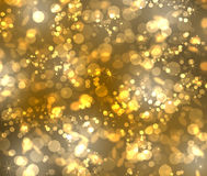 Gold bokeh. From stars, rounds and hexagonals Stock Image