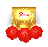 Gold bokeh background with red roses. Stock Image