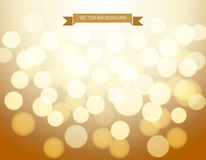 Gold bokeh background. Vector illustration Stock Photography