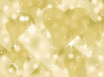Gold bokeh heart valentines day card background illustration with twinkling stars and sparkles Stock Images