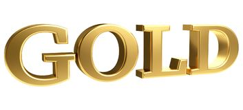 Gold bold letters 3d rendering Royalty Free Stock Photo