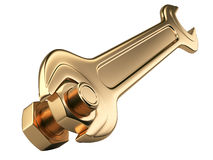 Gold bolt nut and spanner. Stock Photography