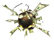 Gold bomb. The bomb from gold blows up dollars Royalty Free Stock Photo