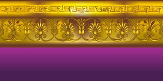 Gold border in the ancient Greek style. Design element in the ancient Greek style on purple background Stock Illustration