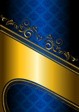 Gold border on a blue patterned background Royalty Free Stock Images