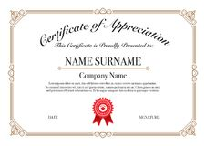 Gold Border Certificate of Appreciation for Excellence Performance royalty free illustration