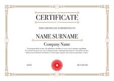 Gold Border Certificate for Excellence Performance Stock Photo