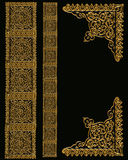 Gold Border Designs on Black Stock Photos