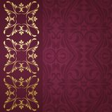 Gold border. Floral border. Abstract flower background Stock Image