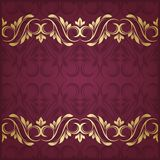 Gold border. Floral border. Abstract flower background Royalty Free Stock Photo