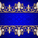 Gold border frame on black Royalty Free Stock Photography