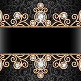 Gold border frame on pattern Royalty Free Stock Images