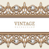 Gold border frame on white Royalty Free Stock Image