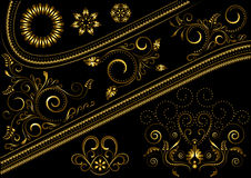 Gold border with pattern and details for design Stock Photography
