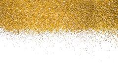 Gold border. Sequins. Golden shine. Powder. Stock Photos
