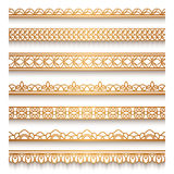 Gold border set on white Royalty Free Stock Image