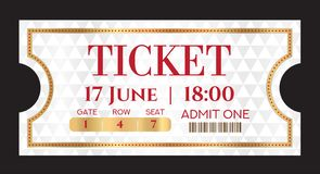 Admission ticket template. Vector mockup movie ticket tear-off vector illustration