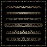 Gold Border Vignettes On Black Royalty Free Stock Image