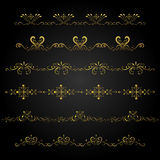 Gold borders. On black background Royalty Free Stock Images