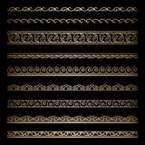 Gold borders. Set of vintage gold wavy borders, ornamental dividers on black vector illustration