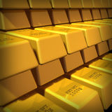 Gold bouillon pyramid. Group of Gold bars in a large stack representing the concept of wealth and financial security Stock Photo
