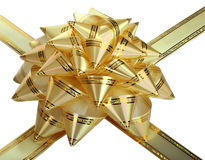 Gold bow. Gold bow with ribbons.Isolated Stock Image