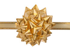 Gold bow. Gold bow with ribbon.Isolated Royalty Free Stock Photos
