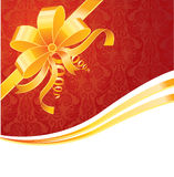 Gold bow. On red, vector illustration Royalty Free Stock Images