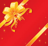 Gold bow. On red, vector illustration Stock Images