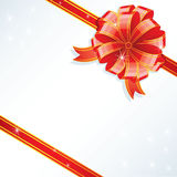 Gold bow. On red, vector illustration Royalty Free Stock Photos