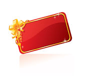 Gold bow. On red, vector illustration Stock Photos