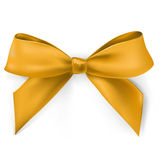 Gold bow. Vector realistic gold satin bow Stock Photos