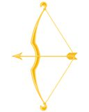 Gold bow and arrow stock illustration