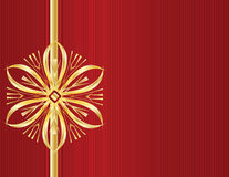 Gold bow design on red line ba. Red background with gold bow design on left side Stock Images