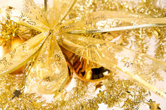 Gold bow. Holiday background Stock Images