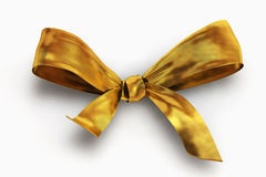 Gold bow isolated on white Royalty Free Stock Photos
