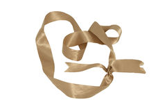 Gold bow over white Stock Images