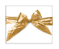 Gold Bow Present Royalty Free Stock Photo