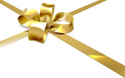 Gold Bow Present Background Stock Image