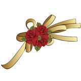 Gold bow with red flowers roses. Painted decorative element, hand-drawing, cartoon detail. Vector illustration. Gold bow with red flowers roses. Painted Royalty Free Stock Photo