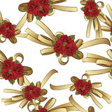 Gold bow with red flowers roses seamless pattern, vector background. Painted decorative element, hand-drawing, cartoon Royalty Free Stock Photography