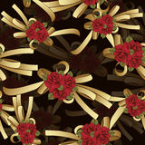 Gold bow with red flowers roses seamless pattern, vector background. Painted decorative element, hand-drawing, cartoon Royalty Free Stock Images