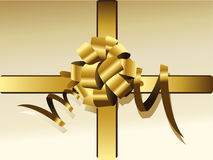 Gold bow and ribbon Stock Photography