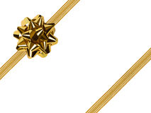 Gold bow and ribbon Stock Photo