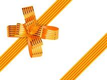 Gold bow and ribbon Royalty Free Stock Image